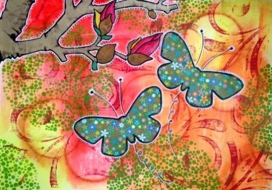 Mixed media vlinders